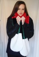 Multi Coloured Striped Long Fur Scarf in Red, Green and Ivory